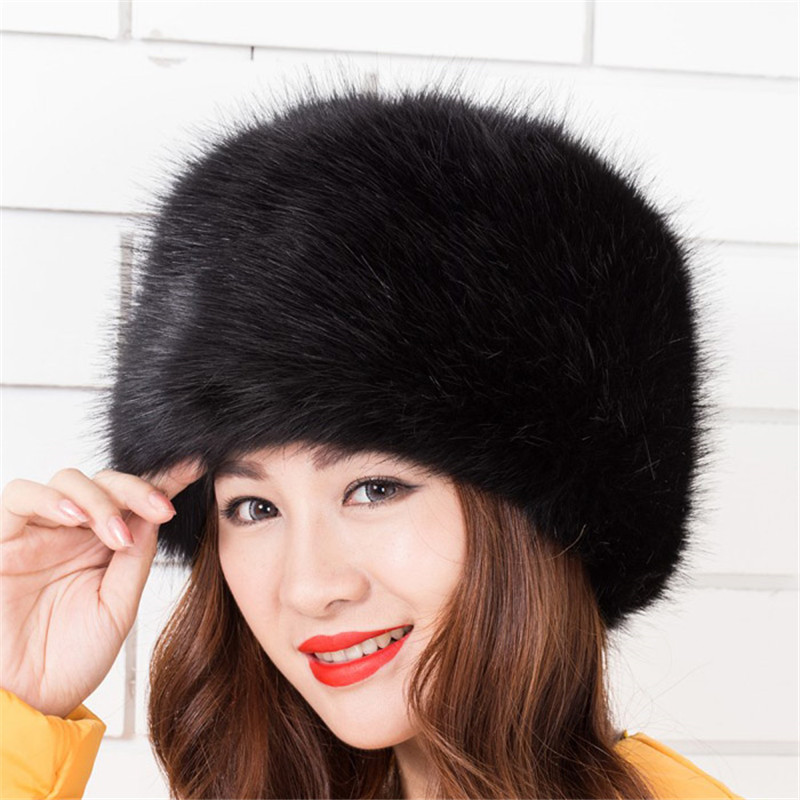 Fashion Faux Fox Fur Winter Warm Lady Women Soft Ski Hat Cossack Cap Ladies  Fashion Artificial Fur Bomber Hats Keep Warm-in Bomber Hats from Apparel ... 2bd339f2fa5