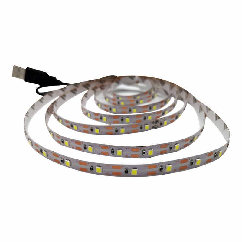 USB LED RGB Strip TV 50CM 1M 2M 3M 4M 5M SMD3528 Light 5 v/6 V Strip Natal Dekorasi Meja Lampu Tape untuk TV Pencahayaan Latar Belakang