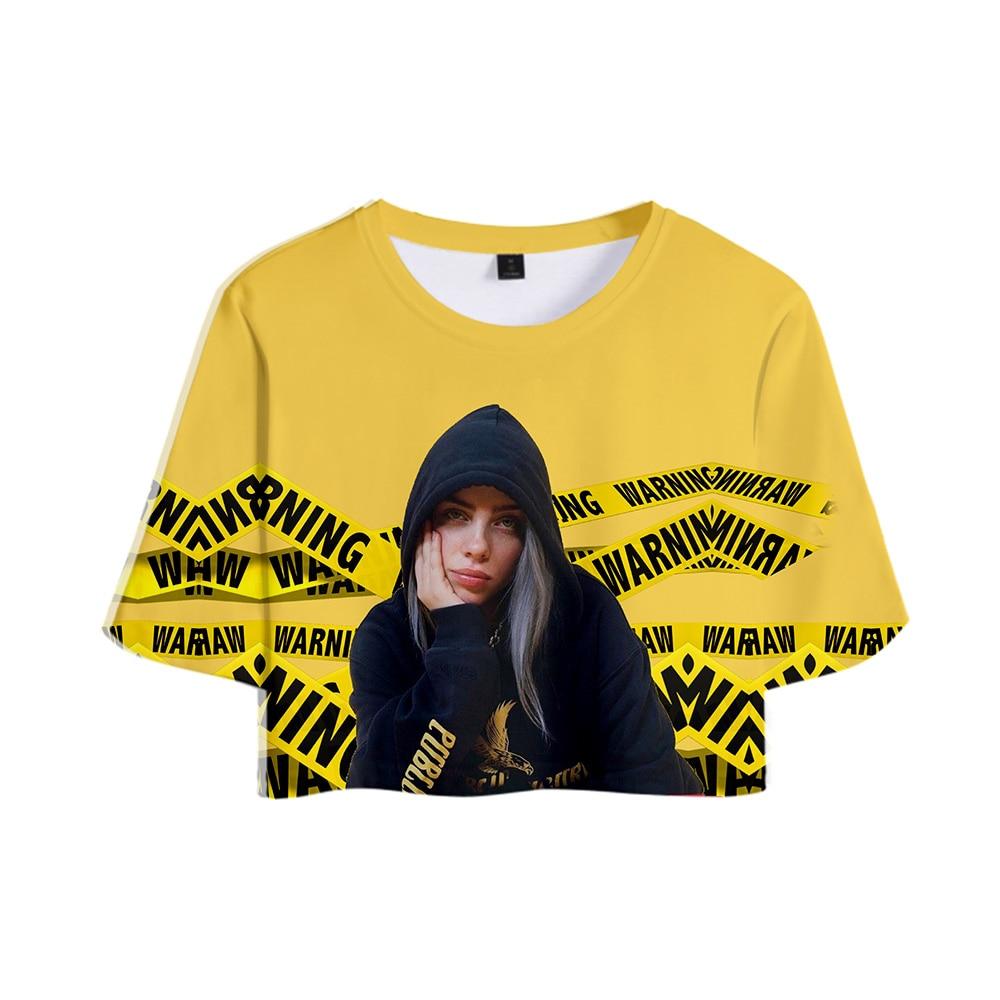2019 Singer Billie Eilish NEW Album When We All Fall Asleep, Where Do We Go? Tops Crops Girl T-shirt Short T Shirt Women Clothes