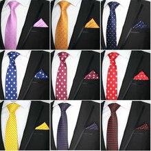 Luxury 8cm Men Silk Tie Polka Dot Necktie Handkerchief Set L