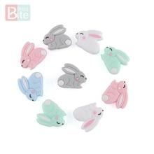 Bite Bites 20pc Silicone Beads Mini Rabbit Food Grade Bead Teething Baby Chews BPA Free Goods Bunny Teether