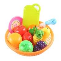 Plastica 12 pz/lotto Taglio Frutta Cucina Giocattolo di Simulazione Cibo Con Bordo Pretend Gioca Giochi Mini Frutta Set Giocattoli Per Bambini Brinquedos