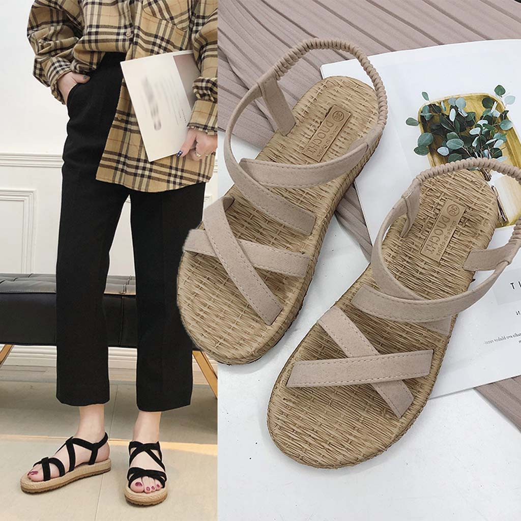 Sandals Women's Elastic-Slippers Rome-Straps Cross-Tied Open-Toe Flat Bohemian Hollow