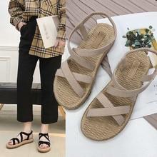 Женские сандалии на плоской подошве с ремешками крест-накрест; сандалии с открытым носком; модные эластичные шлепанцы в богемном стиле; sandalia feminina