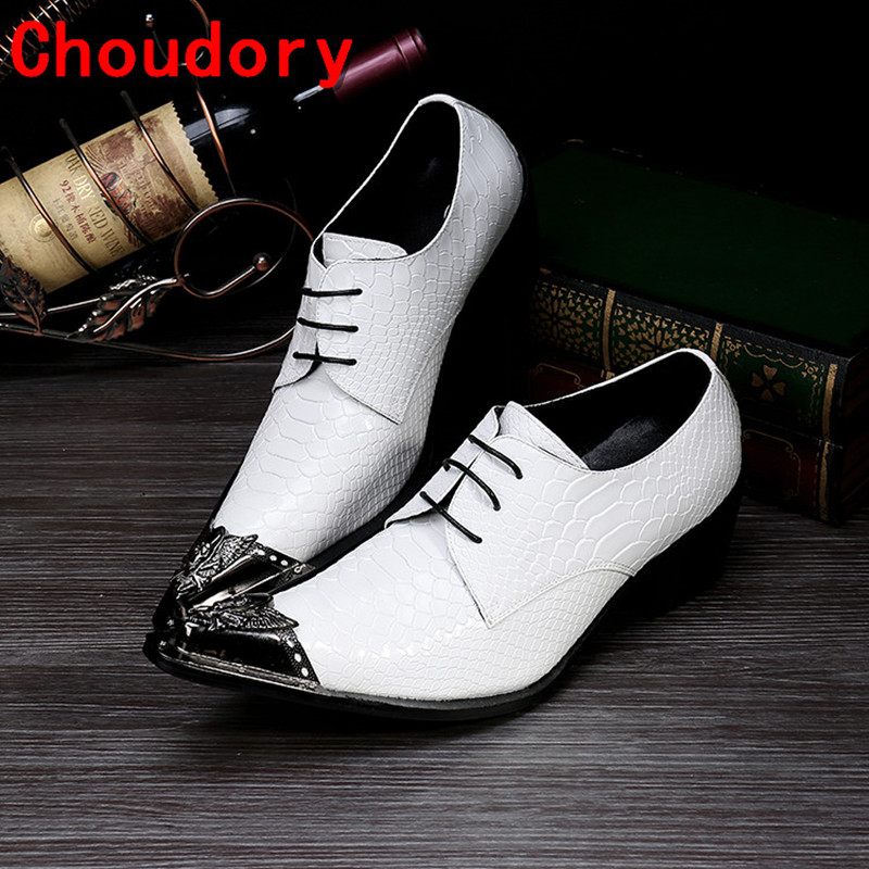 Choudory white wedding mens pointed toe dress shoes leather oxford shoes for men high heels sapato masculino social formal shoes