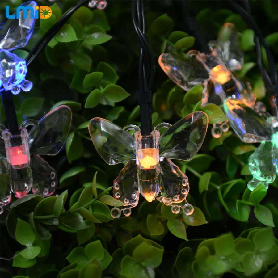LMID Outdoor Lighting  Colorful Decoration Butterfly Luz Garland Waterproof Christmas Garden  Solar Lamp Outdoor LED String