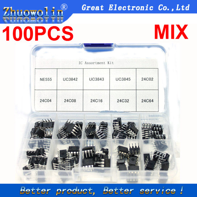 US $8 99 |100PCS/Box NE555 UC3842 UC3843 UC3845 24C02 24C04 24C08 24C16  24C32 24C64 DIP IC Assortment Kit Each 10PCS CGKCH197-in Integrated  Circuits