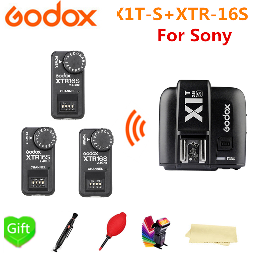 New Godox X1TS X1T-S TTL 2.4 G Wireless Transmitter Flash Trigger +3* XTR-16S Receiver For Sony a77II a7RII a7R a58 a99 camera