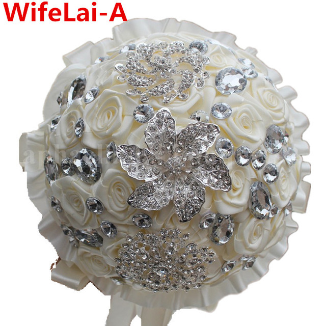 Handmade Ivory Cream Diamond Brooch Bride Bouquets Artificial Holding Flowers Bridesmaid Wedding Bouquets Customized W127
