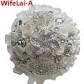 Hecho a mano de Marfil Crema Broche de Diamantes Novia Ramos Artificial Que Sostiene Las Flores Dama de Honor Ramos de Novia Personalizados W127