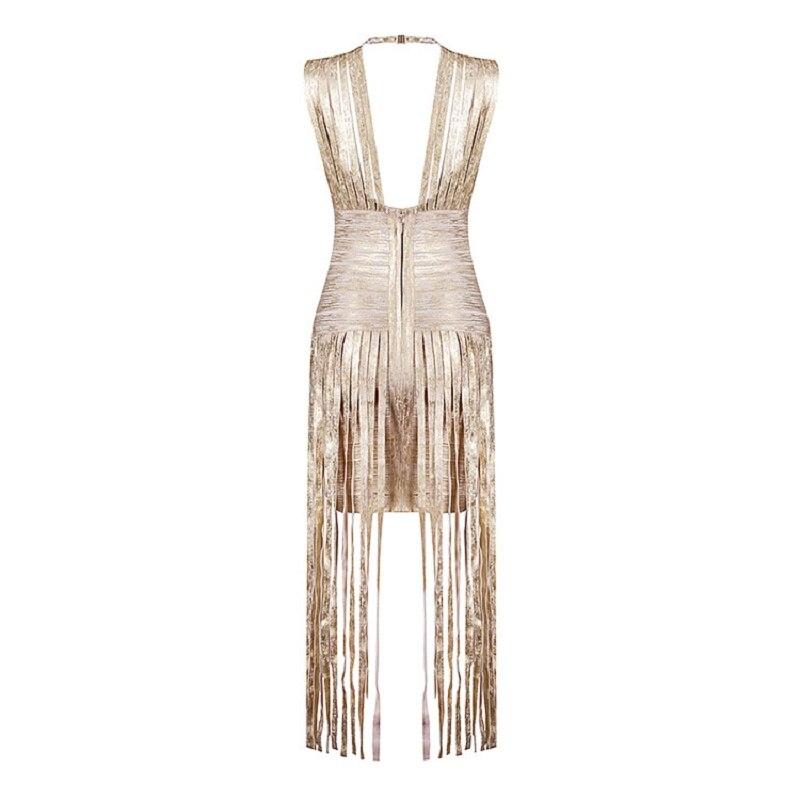 2019 nouveau Sexy soirée gland or imprimé robe Occasion spéciale robe longue bal robes de soirée célébrité Club Bandage robe - 4