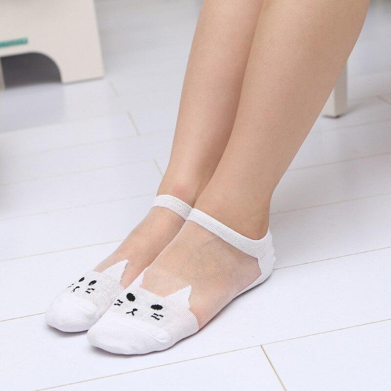 1Pair Women Elegant Silk Lace Crochet Transparent Socks Ultrathin Short Socks Hosiery Animal Prints Socks