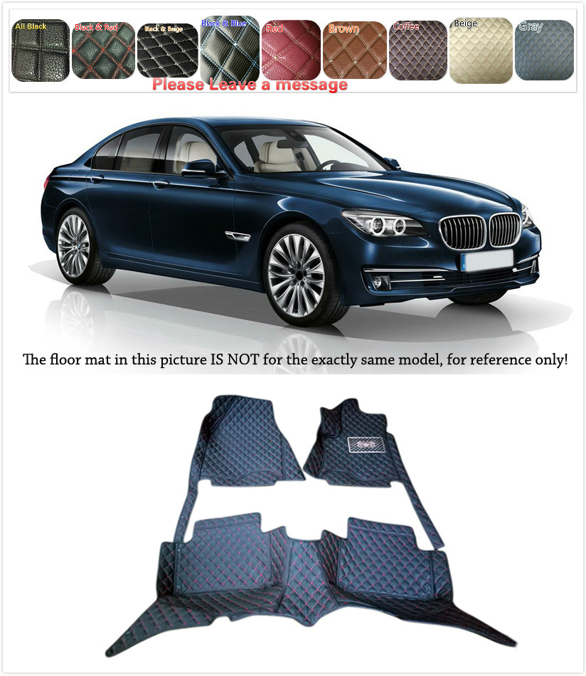 5 Seats 1 Set Customs Car Floor mat Leather Waterproof Front & Rear Floor Mats Carpets Pads for BMW 7 Series F01 2014 2015 customs 5 seats 1 set car floor mat leather waterproof front
