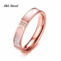 Rose Gold AAA Zircon Shell Charm Elegance Rings For Women Jewelry 4MM Polishing Stainless Steel Luxury