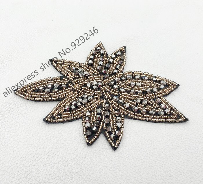 4pcs/lot fashion hand-made beaded flower applique with hunging gun brown beads for <font><b>coat</b></font> women dress garment bags hair decoration image