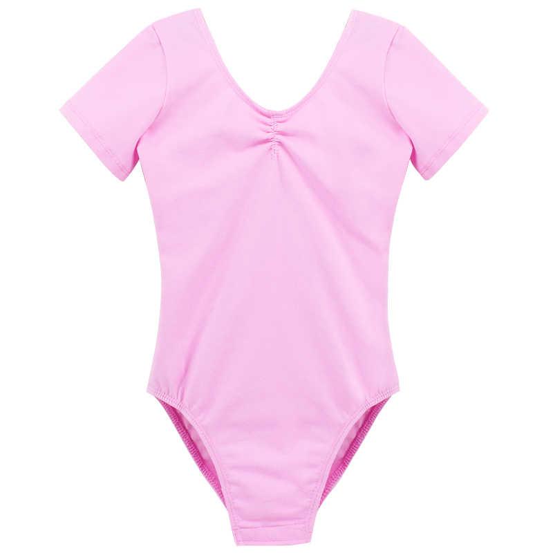 Детское розовое хлопковое трико с короткими/длинными рукавами; одежда для балета и танцев для девочек; одежда для спортивной гимнастики