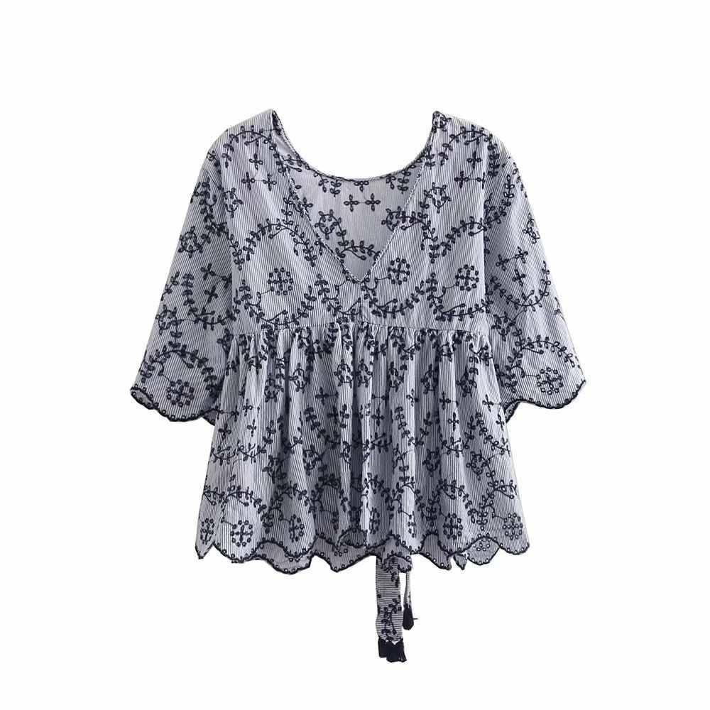 Bayanlar Bluzlar Tatlı Hollow out Çiçek Nakış 2018 Gömlek papyon Kemer Kısa Kollu Sevimli Bluz Bayanlar Casual Tops Blusas