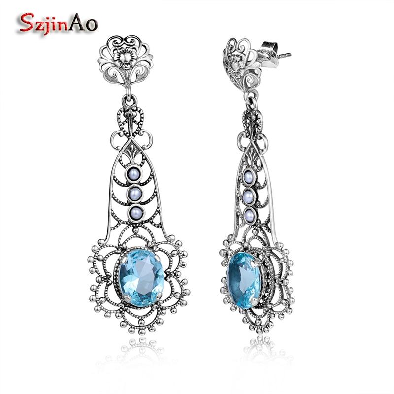 Szjinao Women Retro Solid 925 Sterling Silver Freshwater Pearl Earrings Aquamarine Semi-precious Stone Free Shipping
