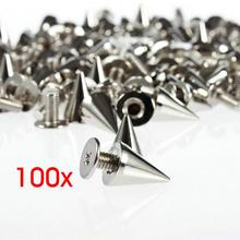 ФОТО 100pcs/set 9.5mm silver cone studs and spikes screwback  diy craft cool punk  garment  rivets for clothes/bag/shoes/leather