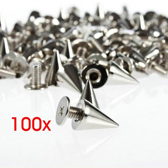 100pcs/set 9.5mm Silver Cone Studs and Spikes Screwback  DIY Craft Cool Punk  Garment  Rivets for Clothes/Bag/Shoes/Leather