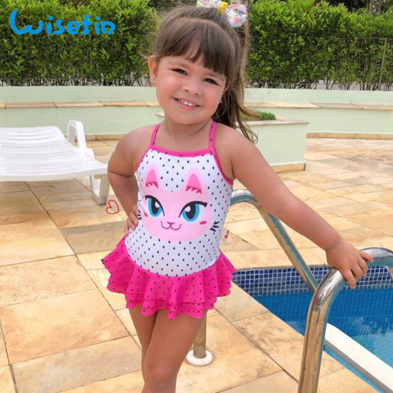 Wisefin Toddler Girl Swimsuits Polka Dots Beachwear Baby Swimwear One Piece Swimsuit Cat Girls Bathing Suit Kids Swimwear 2018 funfeliz flamingo swimsuit for girls 2 8 years one piece girls swimwear cute unicorn kids swimming suit children bathing suits