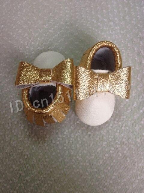 2015 Новая мода Из Натуральной Кожи бахромой белое золото смешанные цвета Детские Мокасины детская Обувь Впервые Уокер новорожденных детская обувь