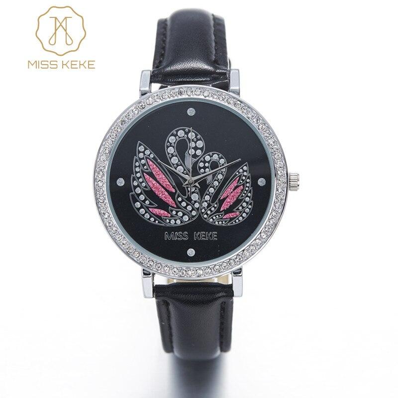Miss Keke 3d Clay Cute Mini World Black Swan Rhinestone Watches Relogio Feminino Ladies Women Quartz Leather Wristwatches 1361 часы mini world mn1012a