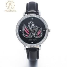 Miss Keke 3d Clay Cute Mini World Black Swan Rhinestone Watches Relogio Feminino Ladies Women Quartz Leather Wristwatches 1361