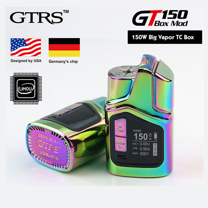 Original GTRS 150W GT150 TC Box MOD with Real Clock Display & Unique LIMOU Chip Built-in 4000mAh Battery E-cigarette Vape TC Kit original kangside gtrs gt200 box mod limou chip mod vape 18650 upgrade gt150 mod 18650 vape mods vaporizer