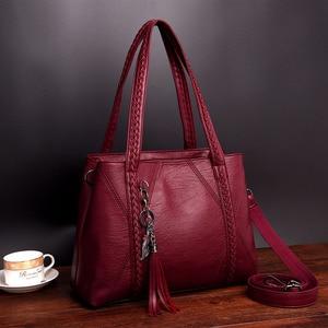 Image 2 - New Leather Tassel bags Large Capacity Women Shoulder Messenger Bag Handbag Famous Big Bag Designer Handbags High Quality Sac
