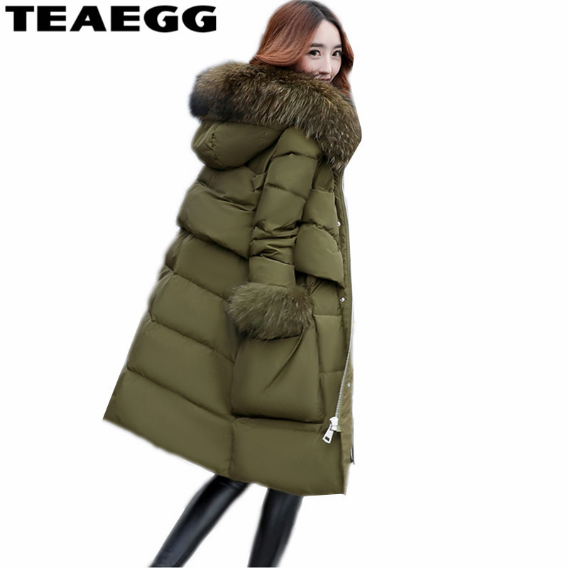TEAEGG Female Plus Size 5XL Women Jacket Winter Parka Cotton Padded Warm Woman Winter Coats And Jackets Faux Fur Collar AL662 winter jacket female parkas hooded fur collar long down cotton jacket thicken warm cotton padded women coat plus size 3xl k450