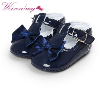 Newborn Baby Girls Shoes PU leather Buckle First Walkers Red Black Pink White Blue