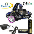 2000 Lumens CREE XM-L XML T6 LED Headlamp Headlight Flashlight Head Lamp Light + 2*18650 battery + charger