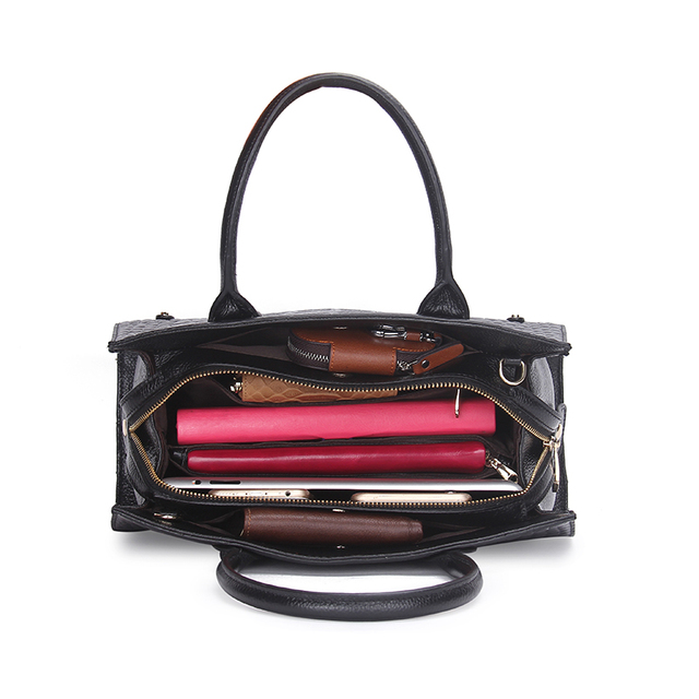 Fashion Women Bags Genuine Leather Handbags Alligator High Quality Zipper Design Black Red Lady Office Bags