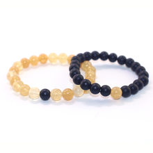 2018 Fashion Simple Unisex Natural Stone Beaded Couple Bracelet Topaz Stone Matte Combination Couple Bracelet Pulsera De Mujer(China)