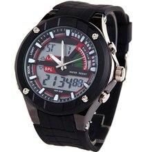 Evecico двойной дисплей мужской часы многофункциональный тенденция моды светодиодные электронные часы водонепроницаемые светящиеся спорт настольный