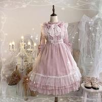 Pink lolita dress vintage stand lace bowknot victorian dress kawaii girl gothic lolita op palace sweet princess dress loli cos
