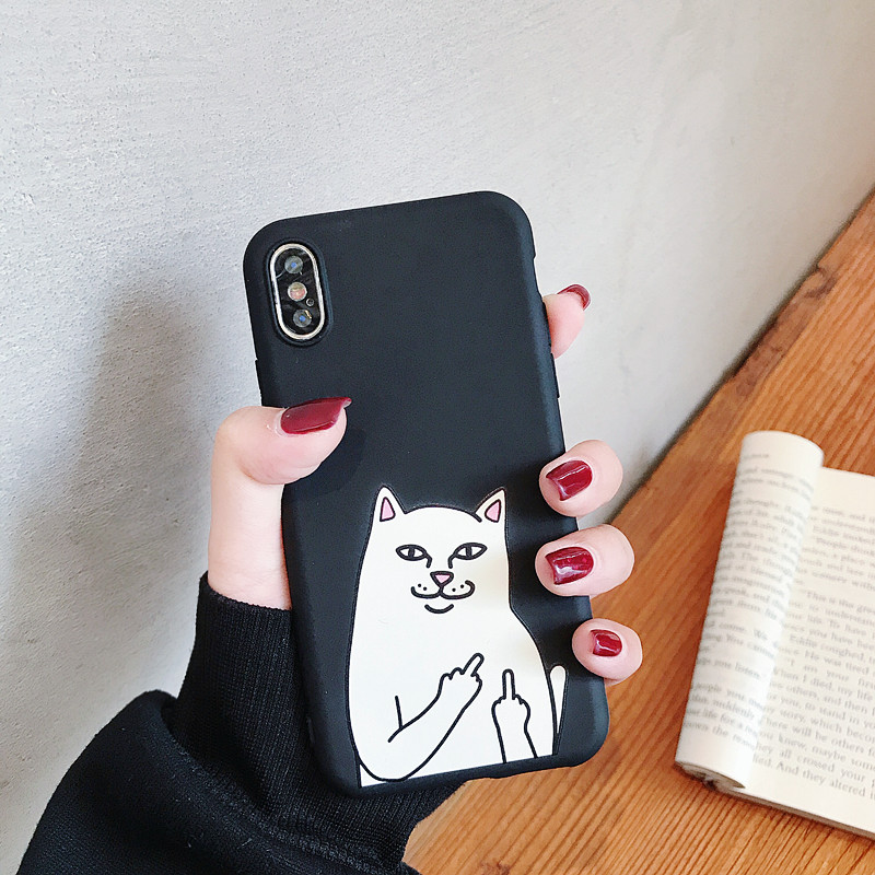 Cute Cartoon Cat Ultra Thin Case For iphone 7 6 6S 5 5S 8 Plus Case For iphone 11 Pro X XR XS MAX Funny Animal Silicone Cover