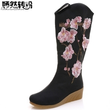 Women Boots Flowers Embroidered Canvas Mid Boots Zip Hidden Wedges Heel  Ladies Tall Booties Platforms Shoes Botas Mujer 3879a3e66b1b