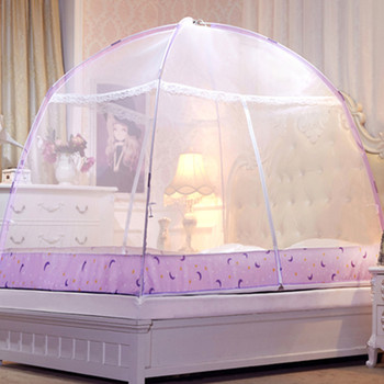 Portable Travel Mosquito Net For Bed 4 Colors Canopy Bed Netting Tent Household Bed Net Yellow Mongolian Yurt Mosquito Curtain