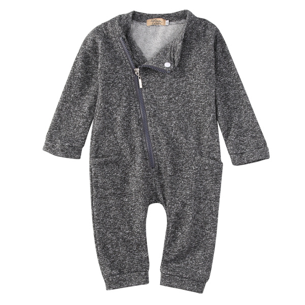 2017 Baby Rompers Spring Autumn Boys Girls Long Sleeve One-piece Zipper Gray Infant Jumpsuits Casual Clothes new baby rompers long sleeve coveralls cute v neck baby clothes solid cotton infant romper spring autumn boys girls jumpsuits