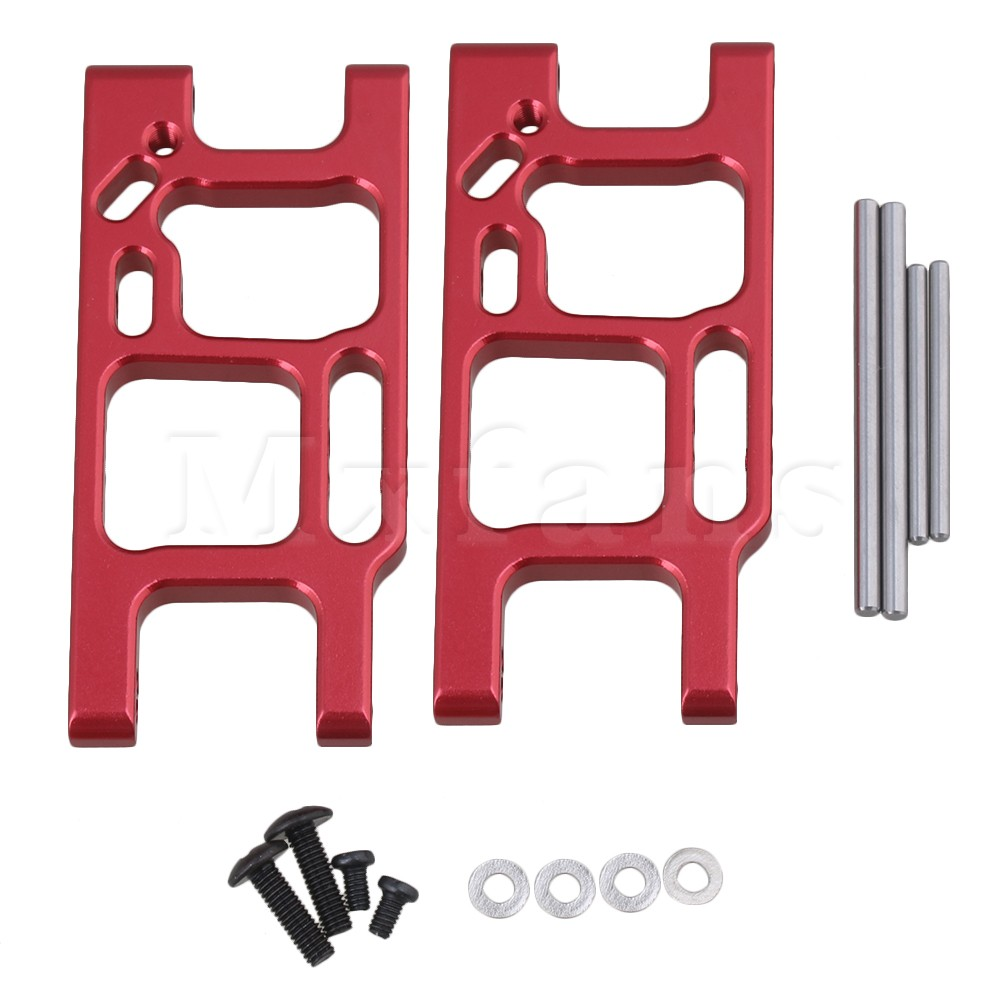 Mxfans 2pcs Red Rear Lower Suspension Arms Upgrade Parts for LC Racing RC1:14 Off Road Car Truck Rally Car Largefoot Car fid metal rear upper suspension arm for lt 5t 1 set crazy off road weapon