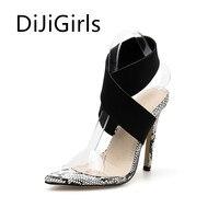 DiJiGirls Summer New Fashion Women Shoes Cross Ankle High Heels Snakeskin Stiletto Party Woman Shoes