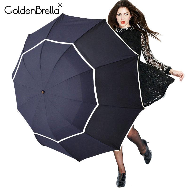 Большой качество зонтик дождь Для женщин Для мужчин Складная Двойная застежка Слои сильное сопротивление ветра супер зонтик Открытый путешествий Для женщин зонтик