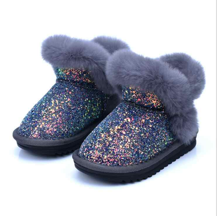 Winter Bling Sequin Girls Boots Winter Shoes For Girls Pink Boots Children  Snow Boots Kids Ugs f41cc53f2412