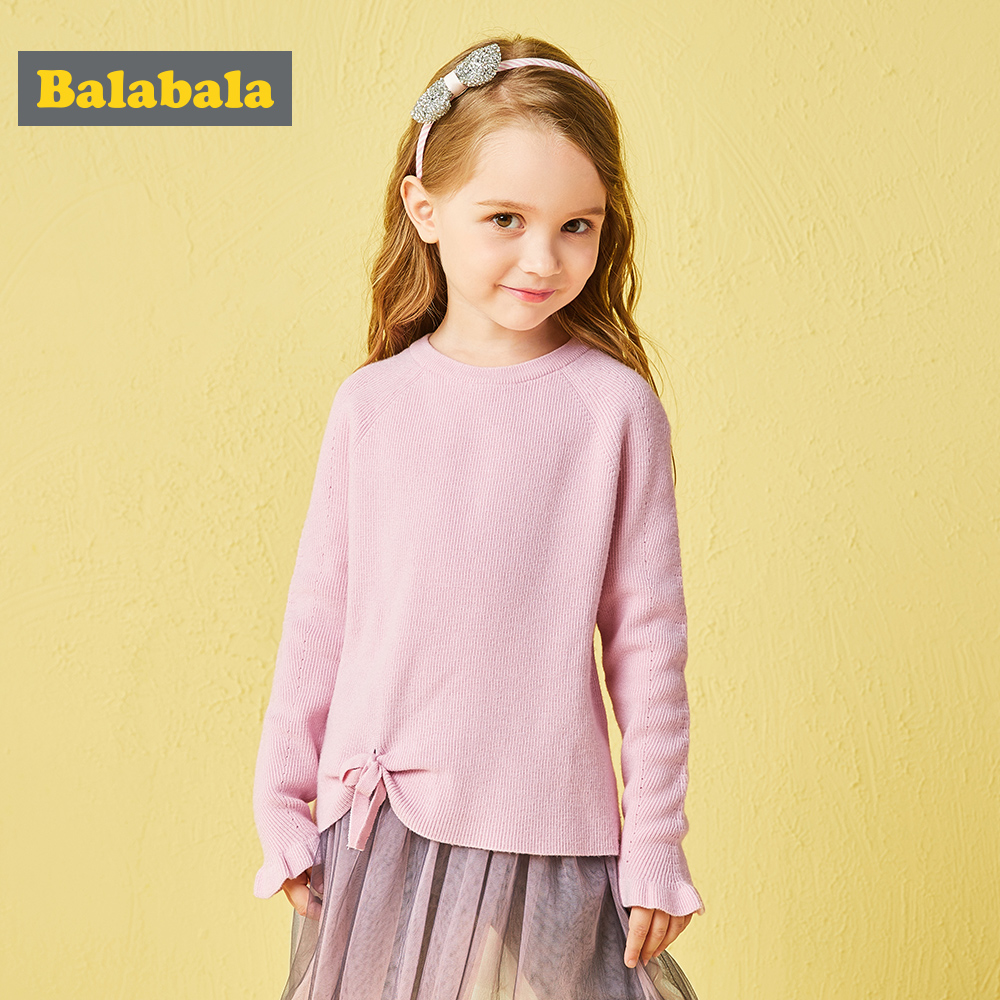 Balabala autunm girls Pullovers toddler girl sweater with bow kids clothes children clothing sweater clothes knitted jumper pink perkins collar knitted thin jumper