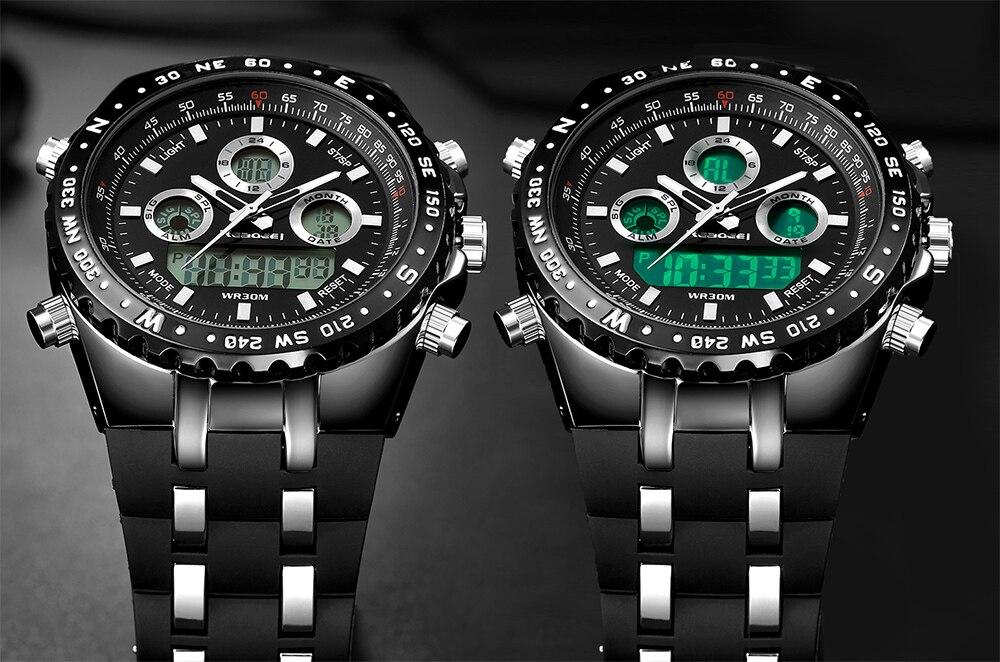 Readeel Top Brand Sport Quartz Wrist Watch Men Military Waterproof Watches LED Digital Watches Men Quartz Wristwatch Clock Male 10