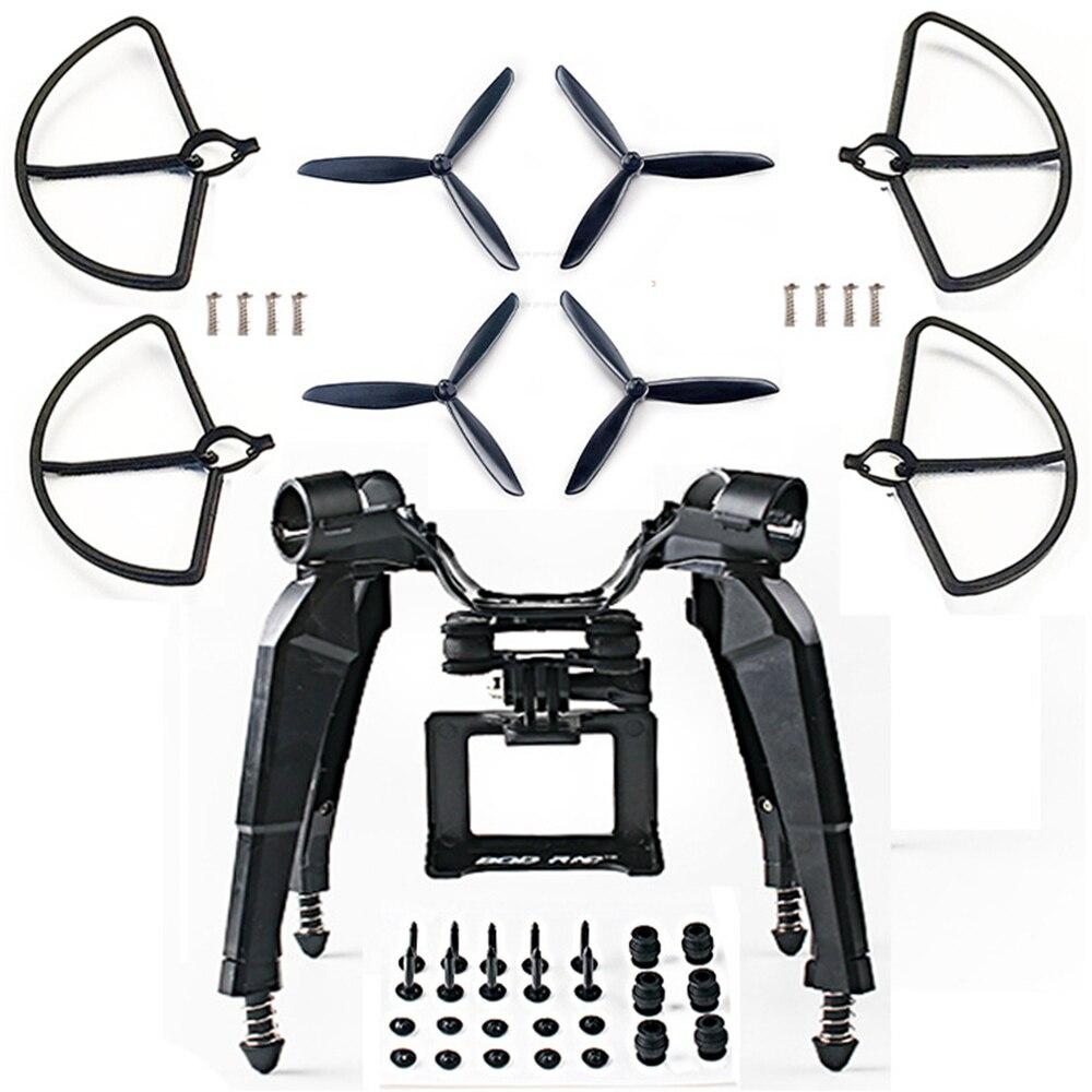 Soporte de montaje de la cámara del patín del tren de aterrizaje del resorte actualizado Blad Props Guard para Hubsan H501S X4 FPV RC Drone Quadcopter piezas de repuesto