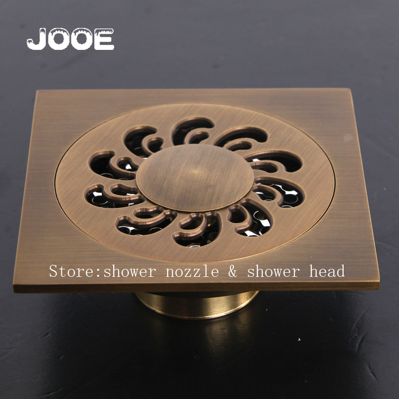 Buy jooe square antique brass floor drain for Salle de bain antique