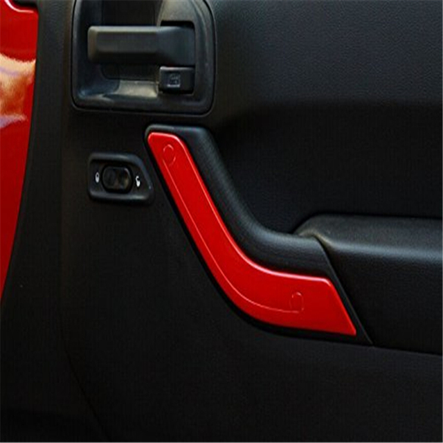 2Pcs/Set Red ABS Interior Door Handle Cover Trim Kits For Jeep Wrangler 2